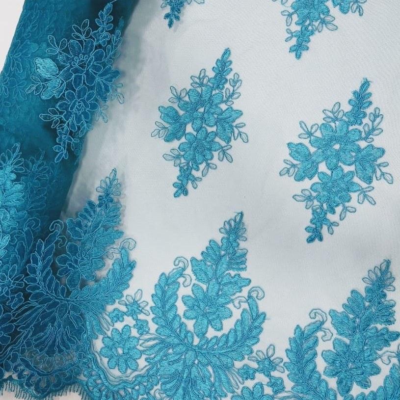 Tecido Tule Bordado Azul Turquesa