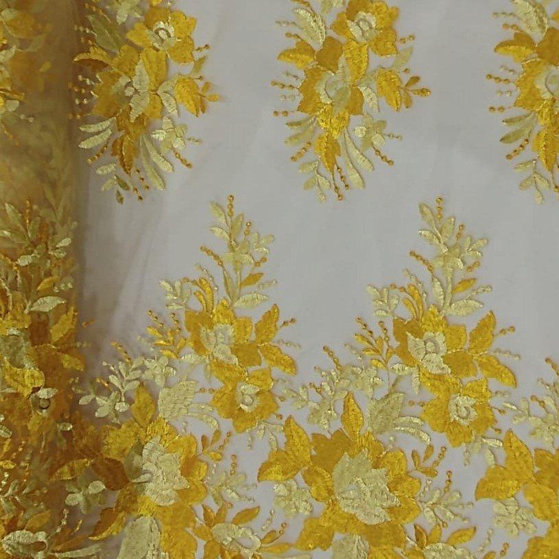 Tecido Tule Bordado Buque Floral