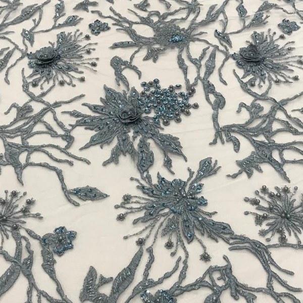 Tecido Tule Bordado Cinza Azulado 3D Com Vidrilho, Paetê e Pérolas