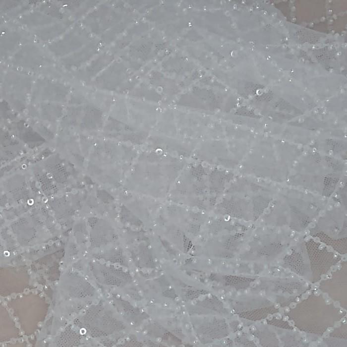 Tecido Tule Bordado Coleção Trend Bordado Paetê holográfico Transparente