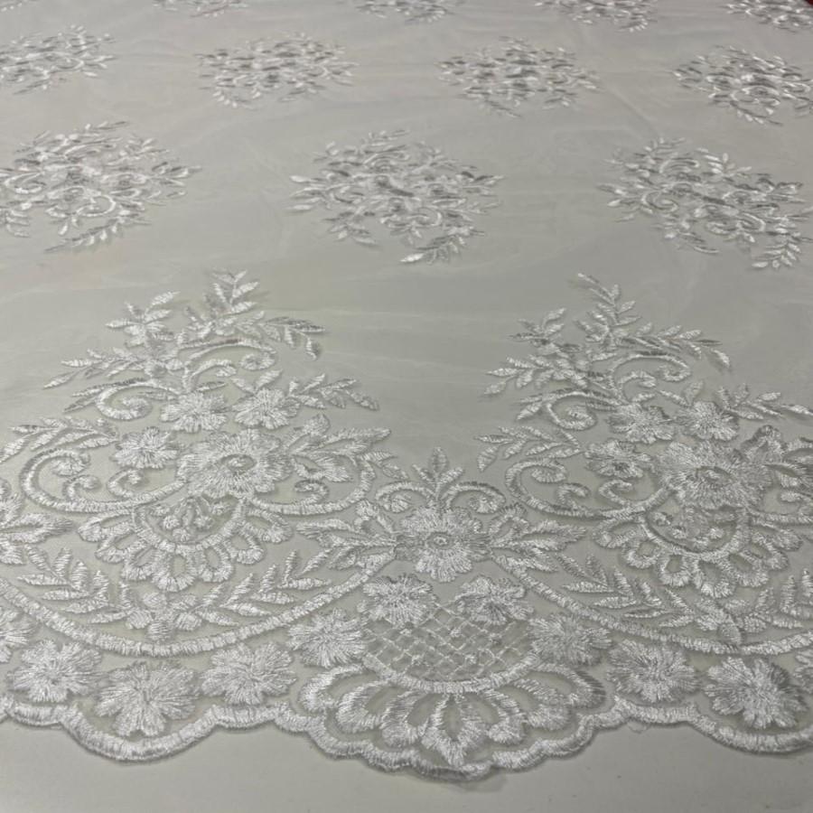 Tecido Tule Bordado Com Bico Branco Desenho 63