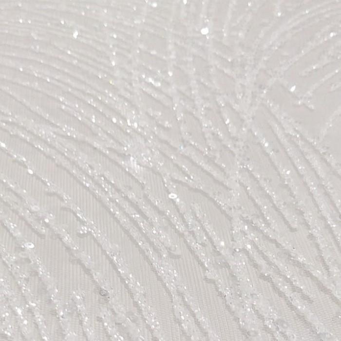 Tecido Tule Bordado Com Glitter e Micro Paetês Off White