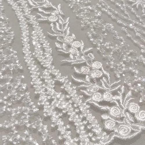 Tecido Tule Bordado Com Micro Paetês Off White