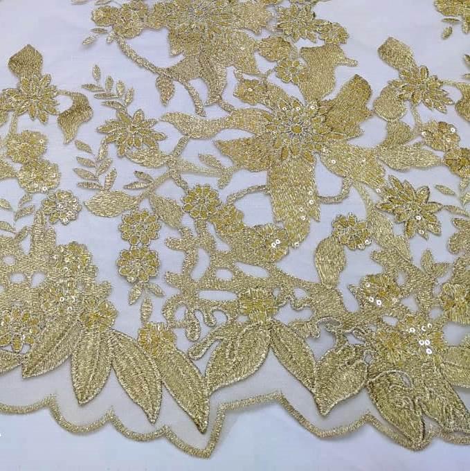 Tecido Tule Bordado Dourado com Micro Paetês