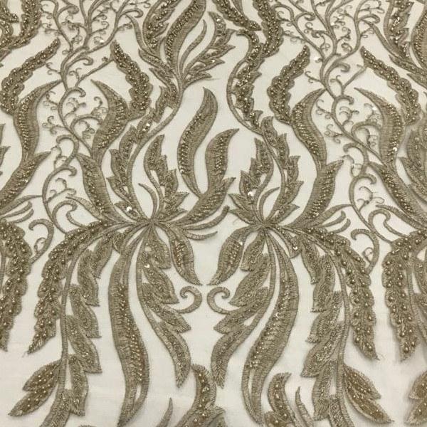 Tecido Tule Bordado Dourado Com Vidrilho, Paetê e Pérolas