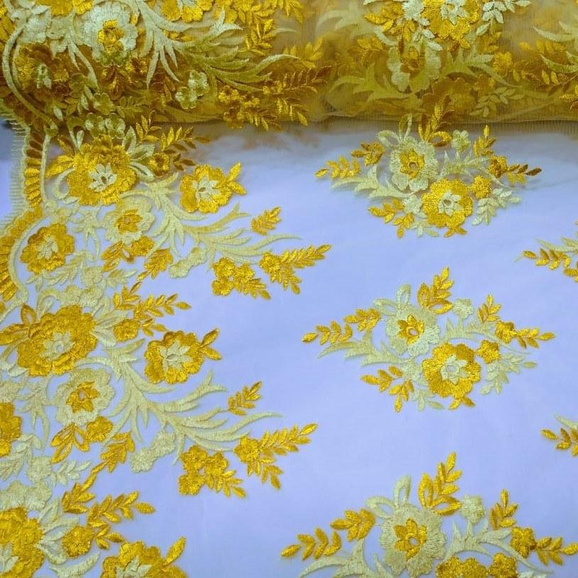 Tecido Tule Bordado Floral Amarelo Âmbar