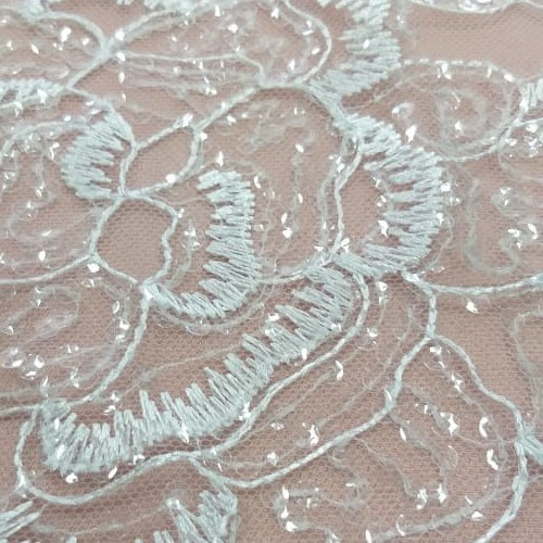 Tecido Tule Bordado Floral Branco Com Micro Paetês Tranparente