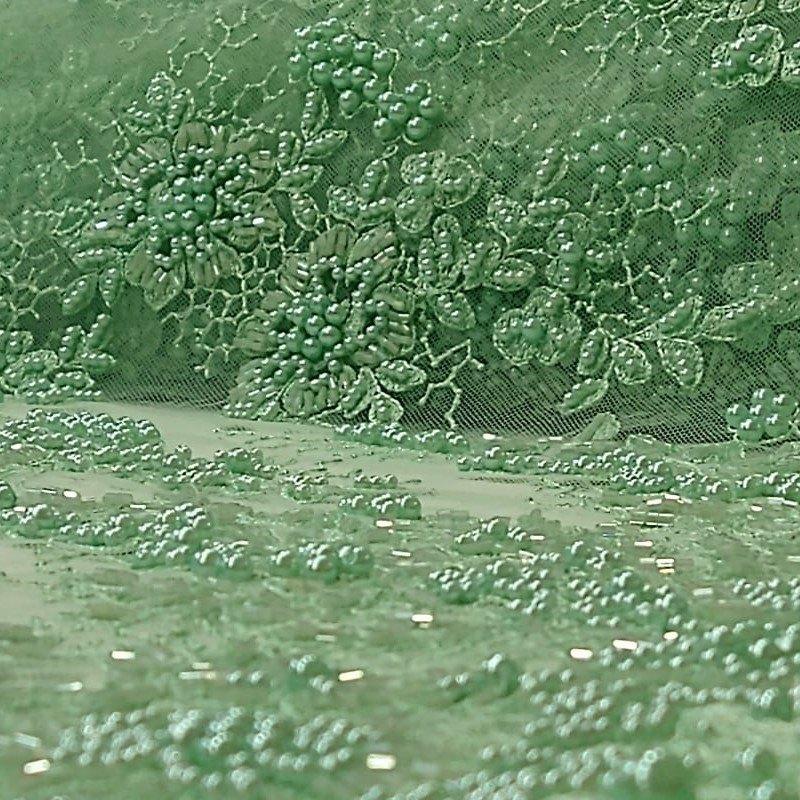 Tecido Tule Bordado Floral Com Pérolas  Verde Água