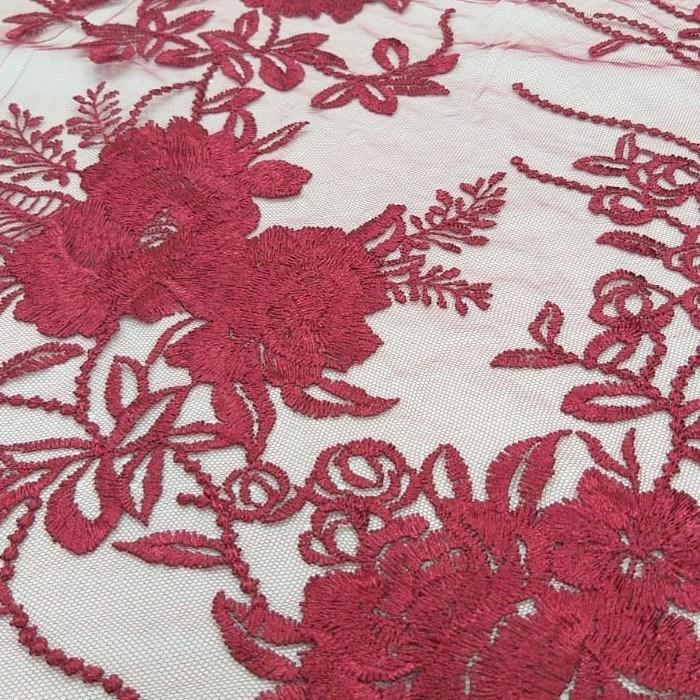 Tecido Tule Bordado Floral Em linha Marsala