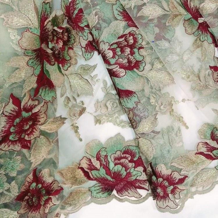 Tecido Tule Bordado Floral Colorido