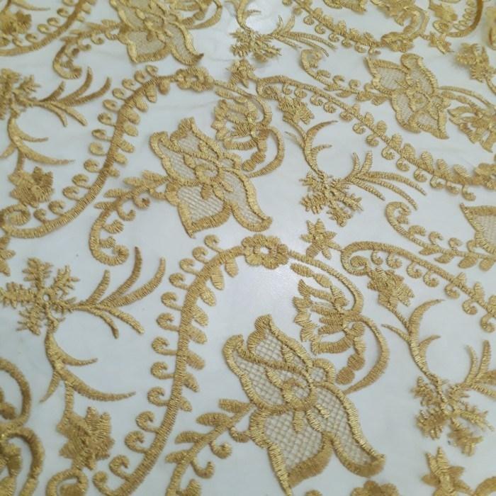 Tecido Tule bordado floral ouro