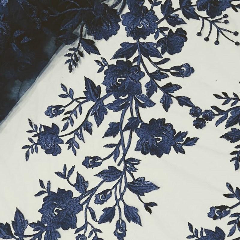 Tecido Tule Bordado Floral