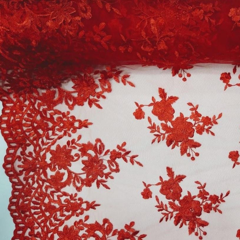 Tecido Tule Bordado Floral Vermelho Amaranto