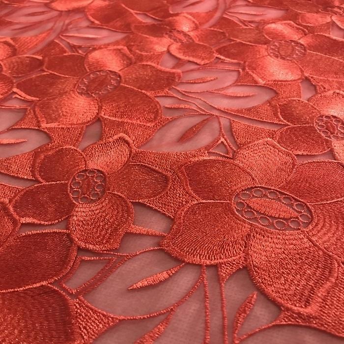 Tecido Tule Bordado Floral  Vermelho Valenty