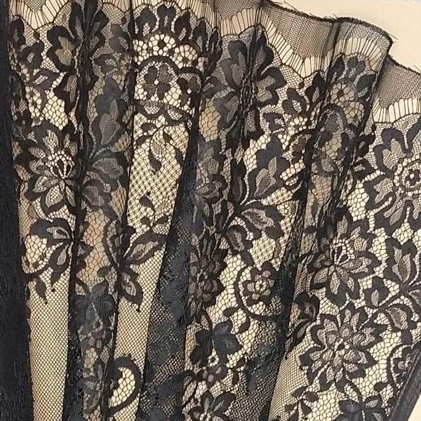 Tecido Tule Bordado Francês Peça Com 2,80 Floral Preto