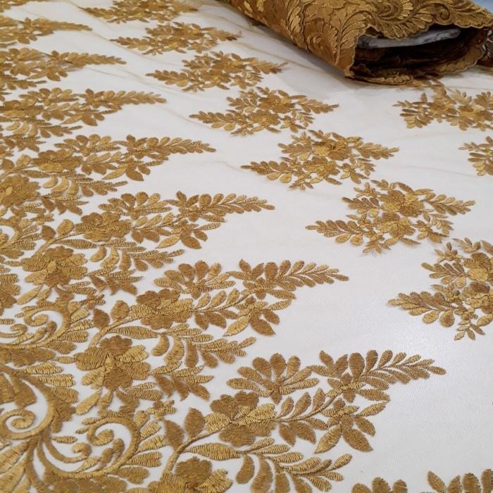 Tecido Tule bordado ouro velho