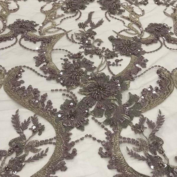 Tecido Tule Bordado Rose Com Fio Metalizado, Vidrilho, Paetê e Pérolas