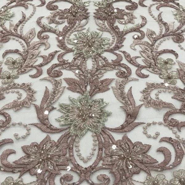 Tecido Tule Bordado Rose Com Fio Metalizado Prata, Vidrilho, Paetê e Miçangas