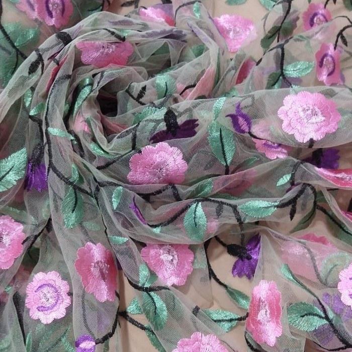 Tecido Tule Bordado Transparente Com Bordado Floral Colorido