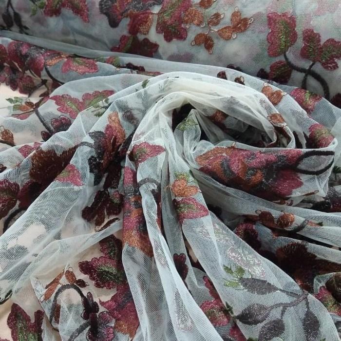 Tecido Tule Bordado Transparente Com Bordado Floral Cor Terracota