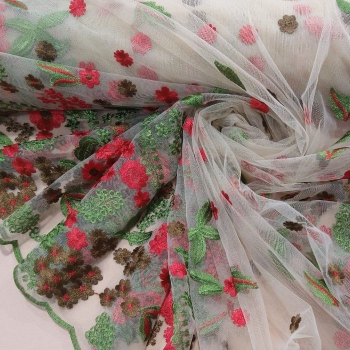 Tecido Tule Bordado Transparente Com Bordado Flores Do Campo