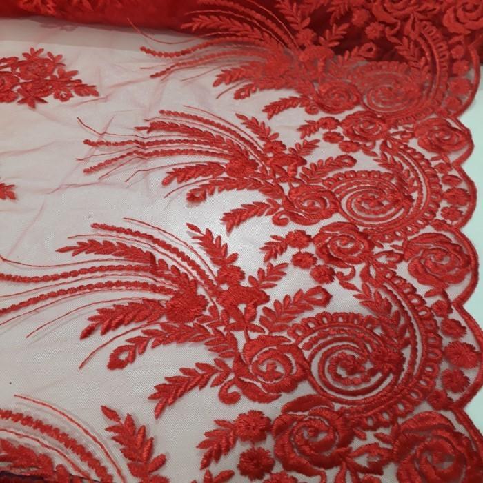 Tecido Tule bordado Vermelho