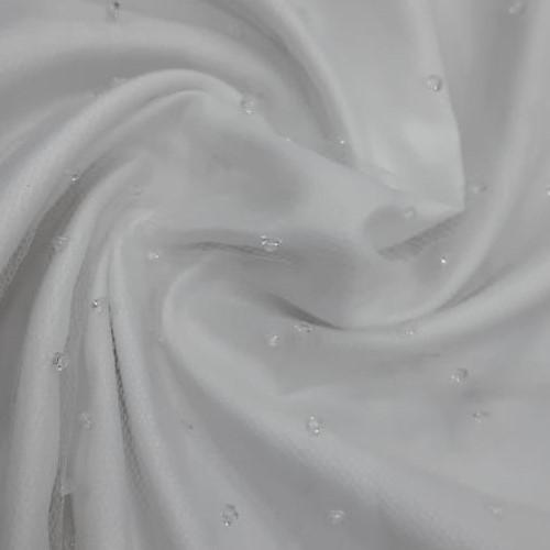 Tecido Tule Branco com Gotas