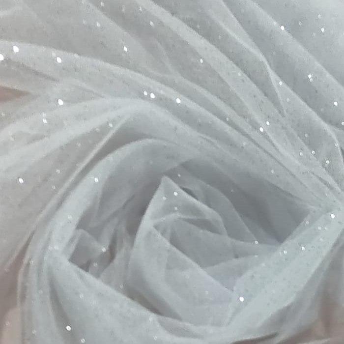 Tecido Tule Com Glitter Cor Branco E Glitter Na Cor Prata