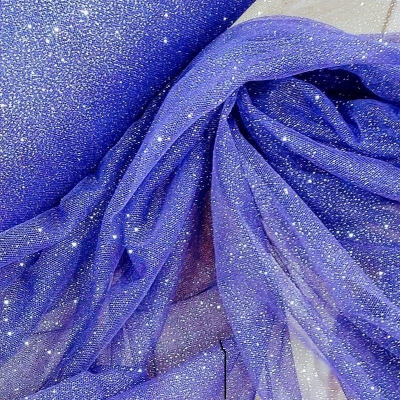 Tecido Tule Com Glitter Cor Violeta (Glitter Cor Prata)