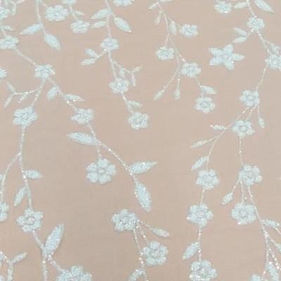 Tecido Tule Com Glitter E Mini Pérolas Off White