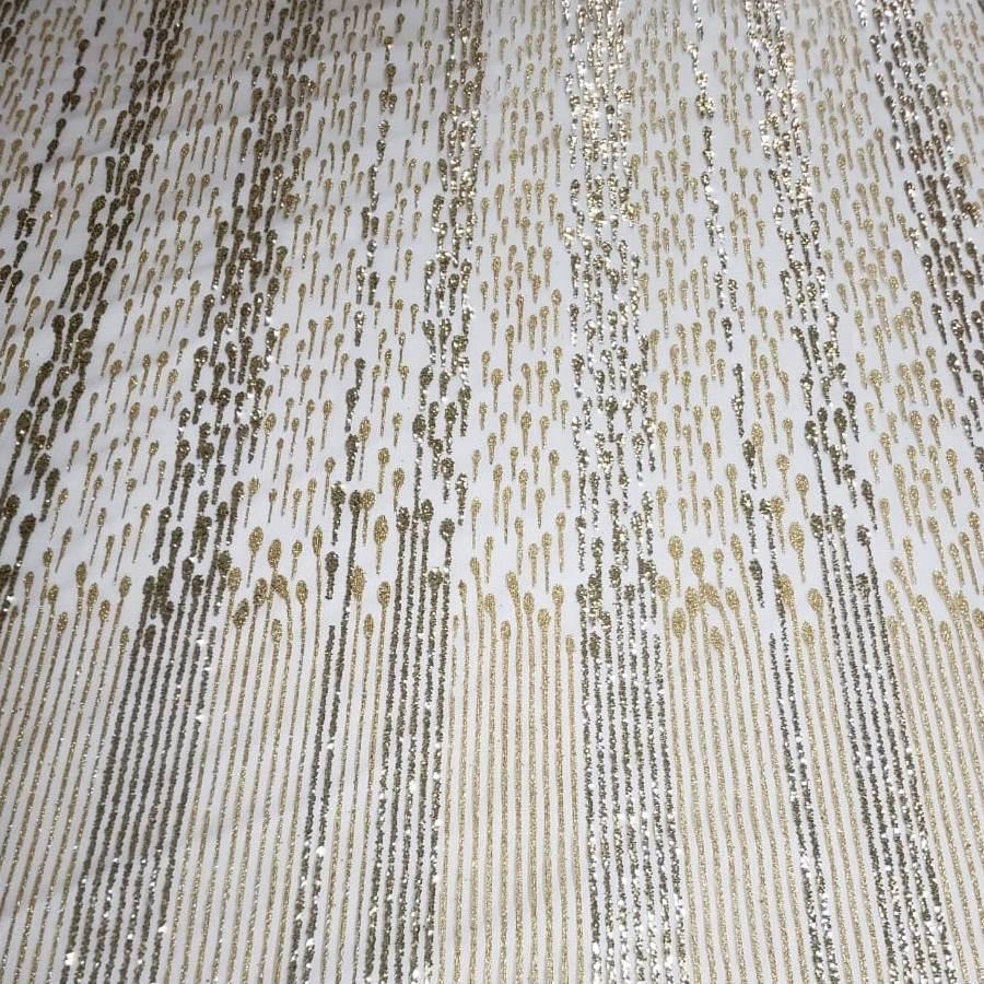 Tecido Tule Com Glitter em 2 tons de Dourado