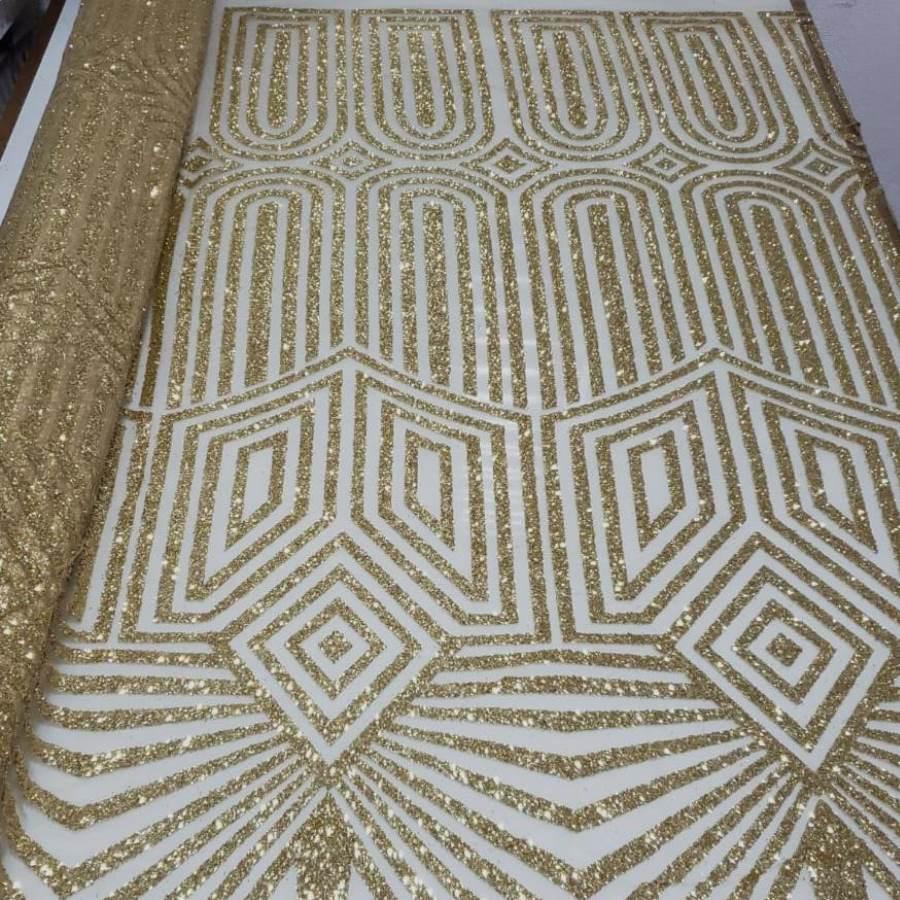Tecido Tule Com Glitter Étnico Dourado