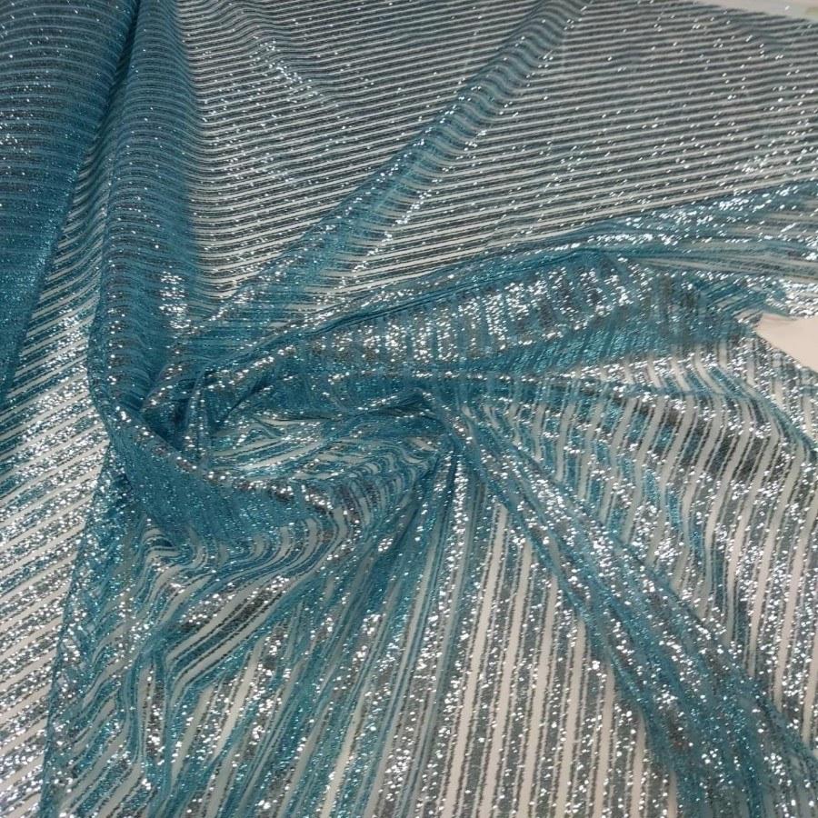 Tecido Tule Com Glitter Listrado Diagonal Azul Piscina