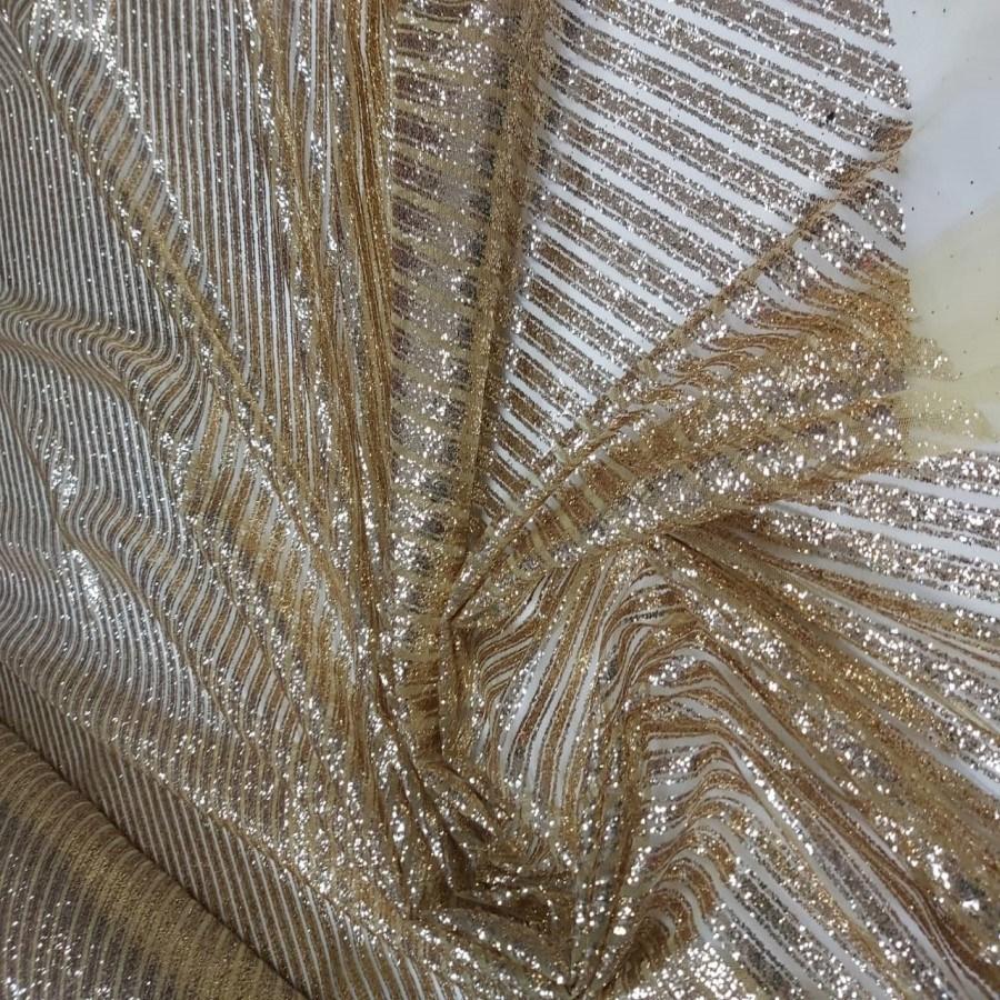 Tecido Tule Com Glitter Listrado Diagonal Dourado