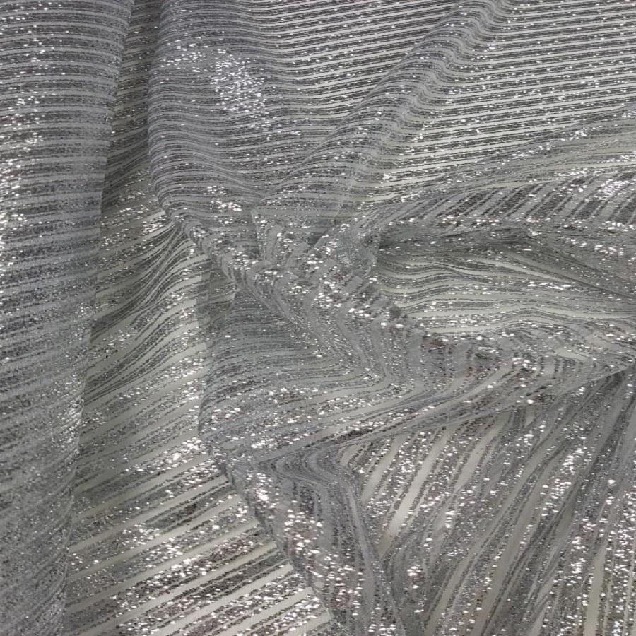 Tecido Tule Com Glitter Listrado Diagonal Prata