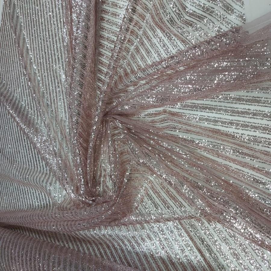 Tecido Tule Com Glitter Listrado Diagonal Rosê