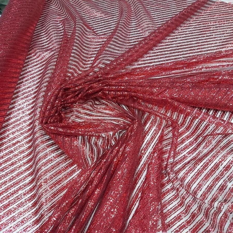 Tecido Tule Com Glitter Listrado Diagonal Vermelho Cereja