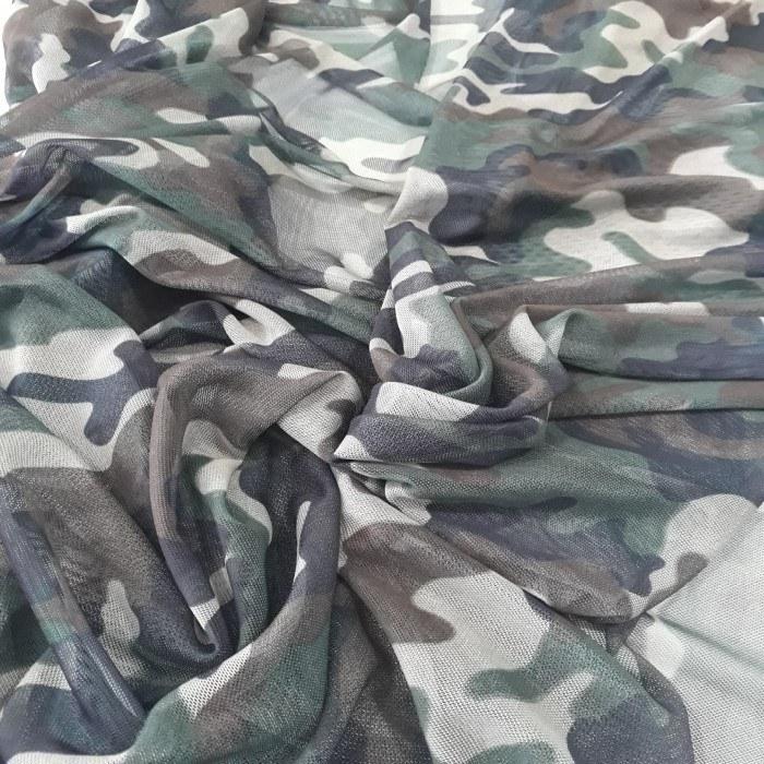 Tecido Tule de Malha camuflado