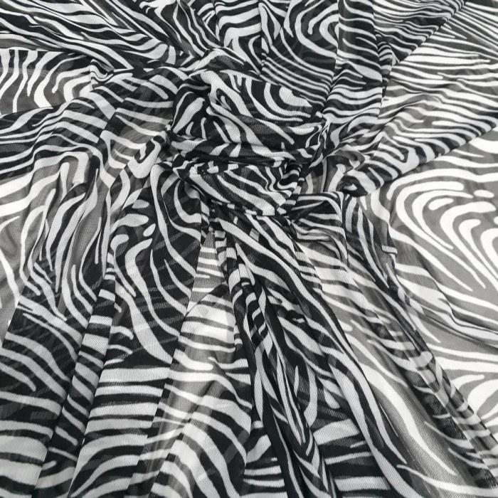 Tecido Tule de Malha Estampado Animal Print zebra