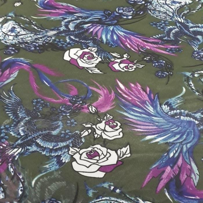 Tecido Tule De Malha Estampado Floral Verde