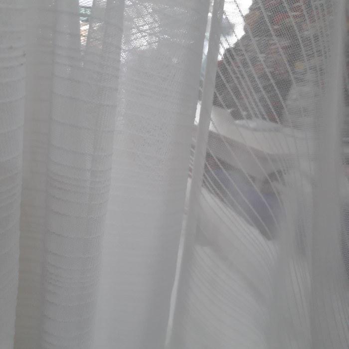 Tecido Tule de Malha Listrado Branco