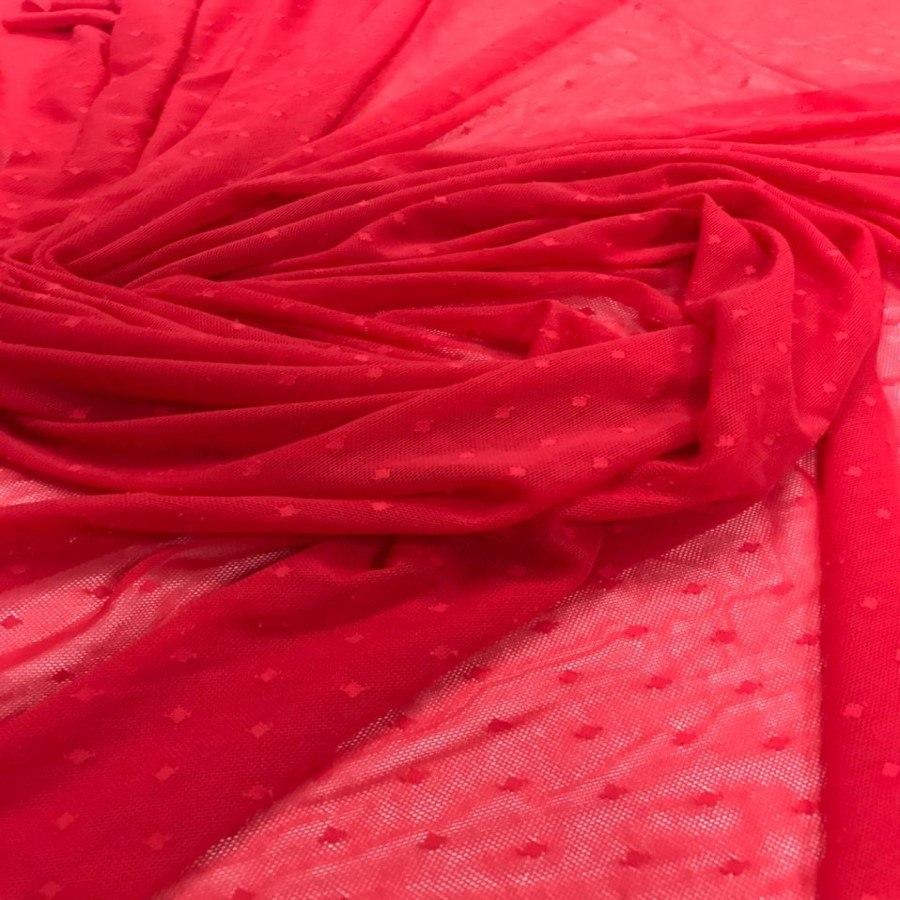 Tecido Tule de Malha Point Sprit Vermelho