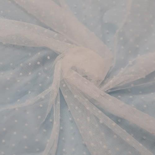 Tecido Tule de Poá Flocado Off White