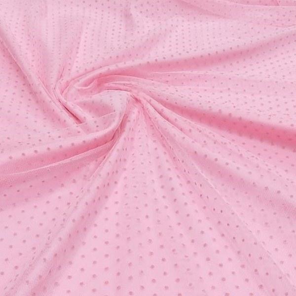 Tecido Tule de Poá Flocado Rosa Chiclete