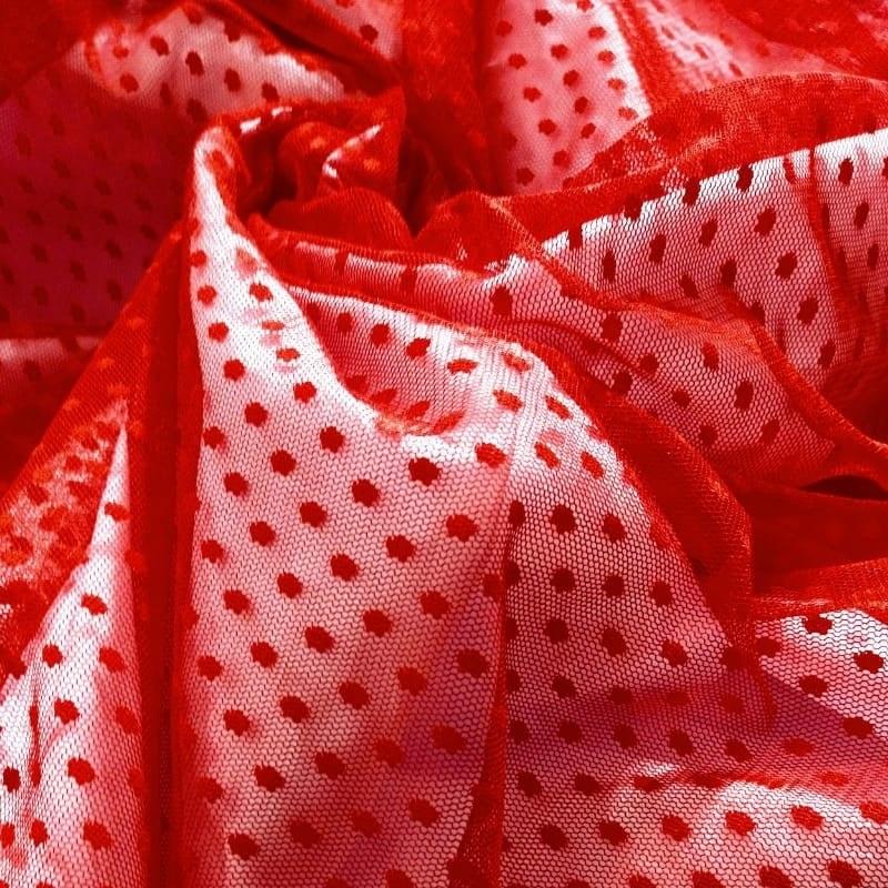 Tecido Tule Flex Dot´s  Vermelho Poá Pequeno