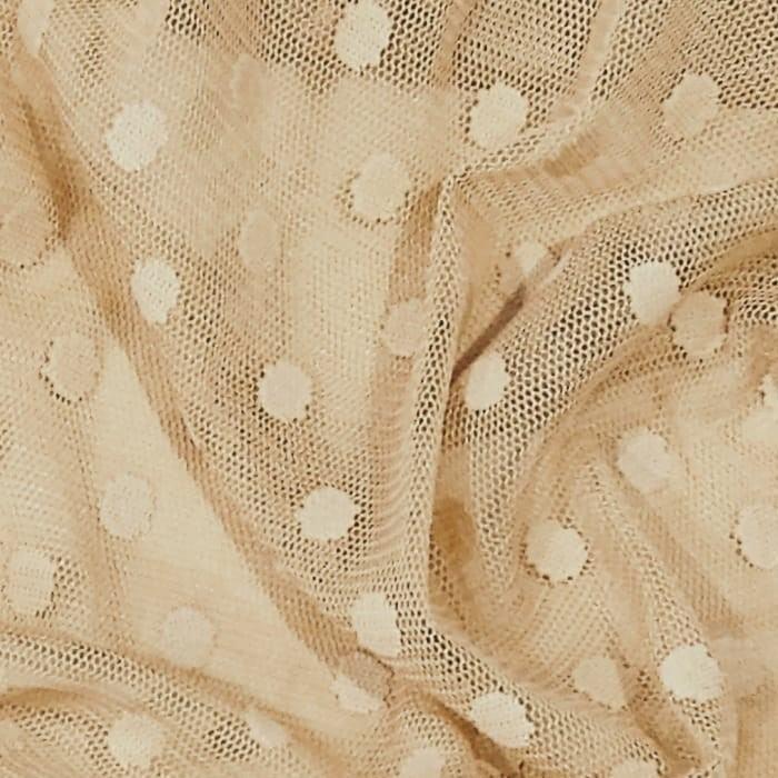 Tecido Tule Flex  Dot´s Poá Grande Cor Bege