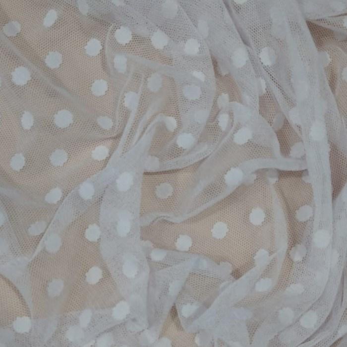 Tecido Tule Flex Dot´s Poá Grande Cor Branco