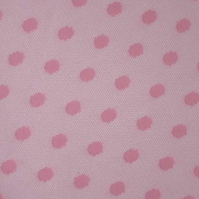 Tecido Tule Point Sprit Coleção Flex Dot´s Poá Grande Cor Rosa Bebê