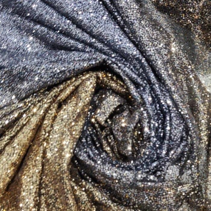 Tecido Tule Glitter Degrade Na Cor Prata com Grafite E Dourado