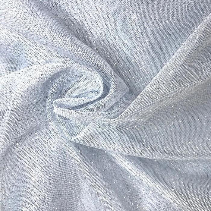 Tecido Tule Ilusione Com Brilho De Glitter Azul Claro